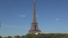 Tour Eiffel Historical Tower Paris Famous Landmark Vacation Summer Destination. Stock Footage