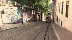 Funicular tram  slows at the top of the hill Stock Footage