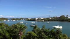Boats at Bermuda Jews Bay. - stock footage