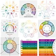 Set 9 templates Infographics cyclic processes on seven positions Stock Illustration