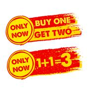 Only now, buy one get two, 1 plus 1 is 3, drawn labels Stock Illustration