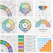 Set 9 templates Infographics cyclic processes five positions Stock Illustration