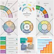 Set 9 templates Infographics cyclic processes four positions Stock Illustration