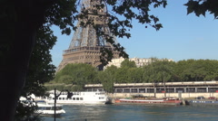 Paris City View Touristic European Capital Seine River Boat Trip Sightseeing. Stock Footage