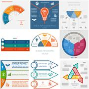 Set 9 templates Infographics cyclic processes.Three positions Stock Illustration