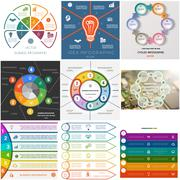 Set 9 templates Infographics cyclic processes for six positions Stock Illustration