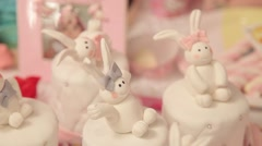 Marmalade bunnies and rabbits on small cakes Stock Footage
