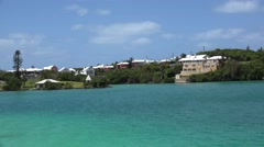 Bermuda colourful houses at the coast of the Harrington Sound inland water pool. Stock Footage