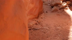 A gorgeous narrow slot canyon in the desert Stock Footage