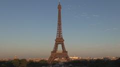Eiffel Tower Sunset Light Paris Central Landmark Visited Romantic Sightseeing. Stock Footage