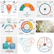 Set 9 templates Infographics cyclic processes on three positions Stock Illustration