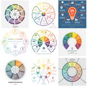 Set 9 templates Infographics seven, eight, nine  positions - stock illustration