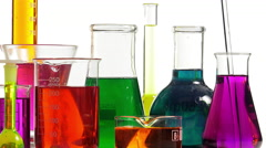 effervescence in several bottles of various colors - stock footage