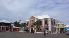 Town Hall at the Kings Square of the St. George's Town, Bermuda. Stock Footage