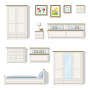 Set of classical bedroom furniture Stock Illustration