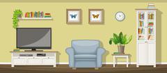 Illustration of a classic living room - stock illustration