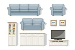 Set of classical living room furniture - stock illustration