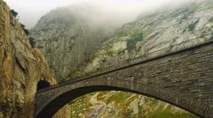 Suspension bridge and cement bridge on the highway, Switzerland Stock Footage