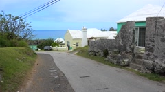 Types of St. George's Town. Government Hill Road with the Tabacco Bay on bkg Stock Footage