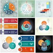 Set 9 templates Infographics cyclic processes, three positions Stock Illustration