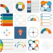 16 templates Infographics cyclic processes four positions Stock Illustration