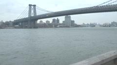 Williamsburg Bridge, East River New York Stock Footage
