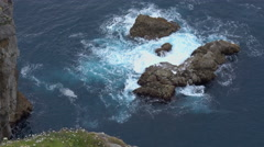 View of the rocks below San Juan de Gaztelugatxe Stock Footage