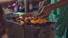 Bbq Seafood - Grilled Squid On Thailand Night Market Stock Footage
