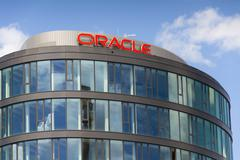 PRAGUE, CZECH REPUBLIC - JUNE 18: Oracle corporation logo on the building of Stock Photos