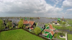 Aerial Zaanse Schans close to well-preserved historic houses 4k - stock footage