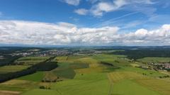 Aerial view of German rural landscape Stock Footage
