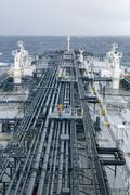 Tanker deck with pipeline - vertical image. Stock Photos