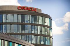 PRAGUE, CZECH REPUBLIC - JUNE 18: Oracle corporation logo on the building of - stock photo