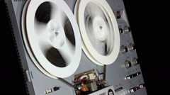 Rewind And Play The Tape On A Reel-To-Reel Tape Recorder Stock Footage