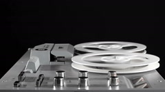 Rewind And Play The Tape On A Reel-To-Reel Tape Recorder - stock footage