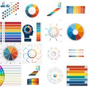 Set 16 numbered templates for Infographics, text area Eight positions - stock illustration