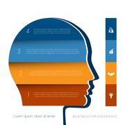 Head the person from colour strips template for four positions - stock illustration