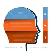 Head the person from colour strips template for three positions Stock Illustration
