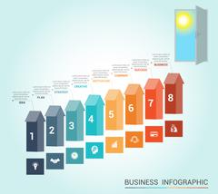 Template infographics, arrows colored and doorway, 8 positions - stock illustration