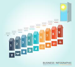 Template infographics, arrows colored and doorway, 9 positions - stock illustration