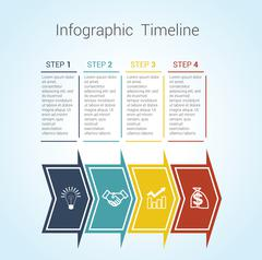 Timeline Infographic colored horizontal arrows numbered for four position - stock illustration