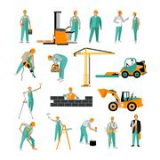 Vector set of construction workers isolated on white. People work. Icons in flat - stock illustration