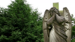 Memorial churchyard angel statue. - stock footage