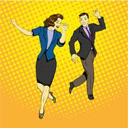 Man and woman dancing with paper documents flying around. Vector illustration in - stock illustration