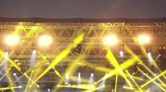 Stage lights,robotic spots,par,floodlights during live concert slomo 100p Stock Footage
