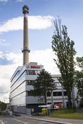 PRAGUE, CZECH REPUBLIC - JUNE 18: Bosch corporation logo on the building of h - stock photo