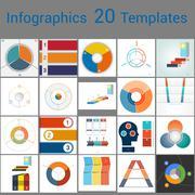 Infographics 20 Templates, text area on three position. Stock Illustration