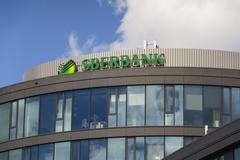 PRAGUE, CZECH REPUBLIC - JUNE 18: Sberbank corporation logo on the building o Stock Photos