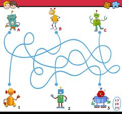 maze puzzle activity for kids - stock illustration
