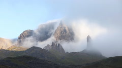 Morning mist rolling through the Storr rock formation on the Isle of Skye. Stock Footage